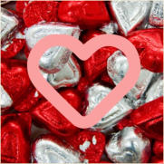 bbchocolate simple foil wrapped chocolate valentine hearts